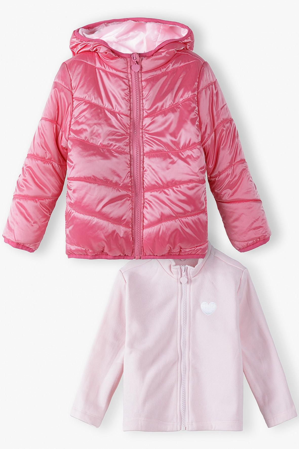 Różowa kurtka dziewczęca z odpinaną bluzą - 3w1