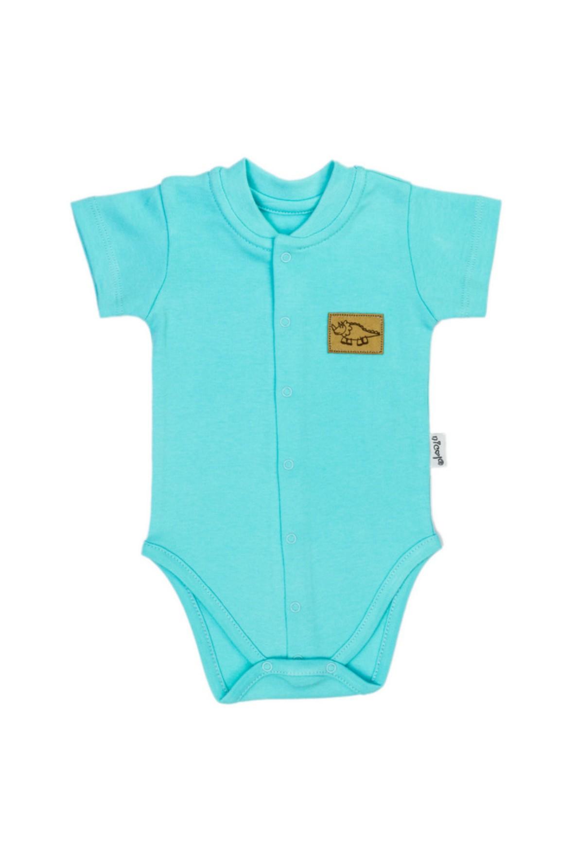 Turkusowe body niemowlęce rozpinane z przodu na krótki rękaw