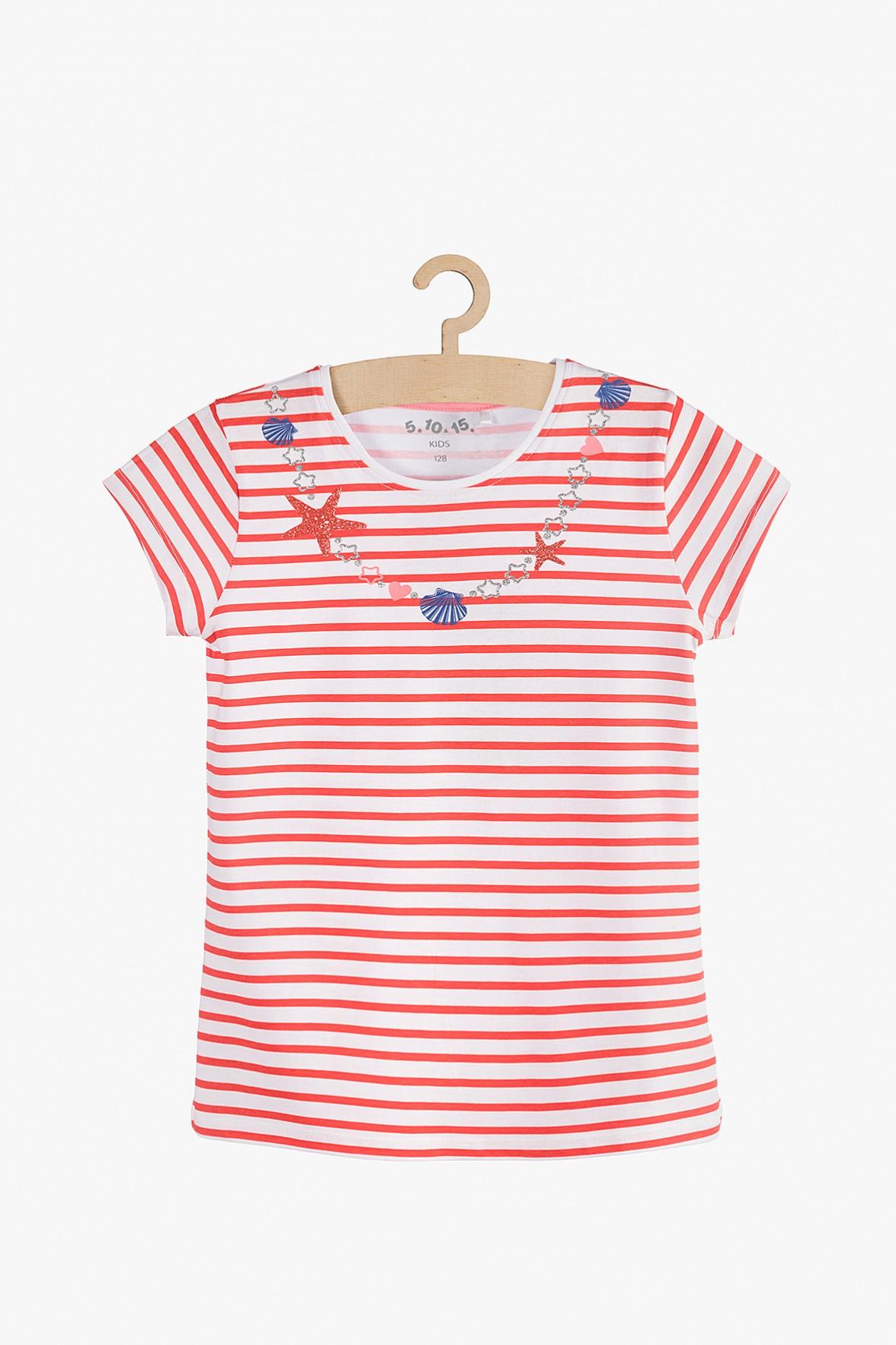 T-Shirt dziewczęcy biało-czerwone
