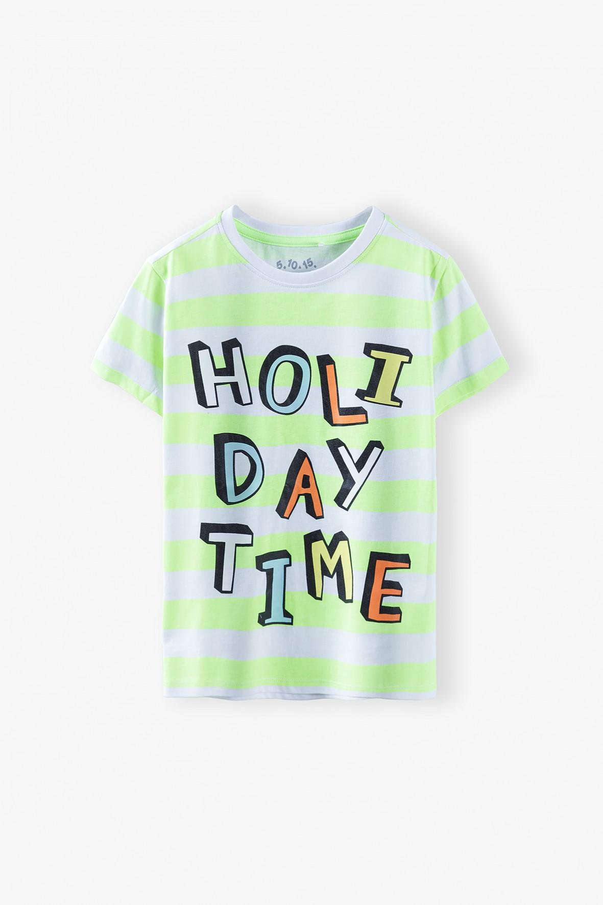 T-shirt chłopięcy w paski z napisem-Holiday Time