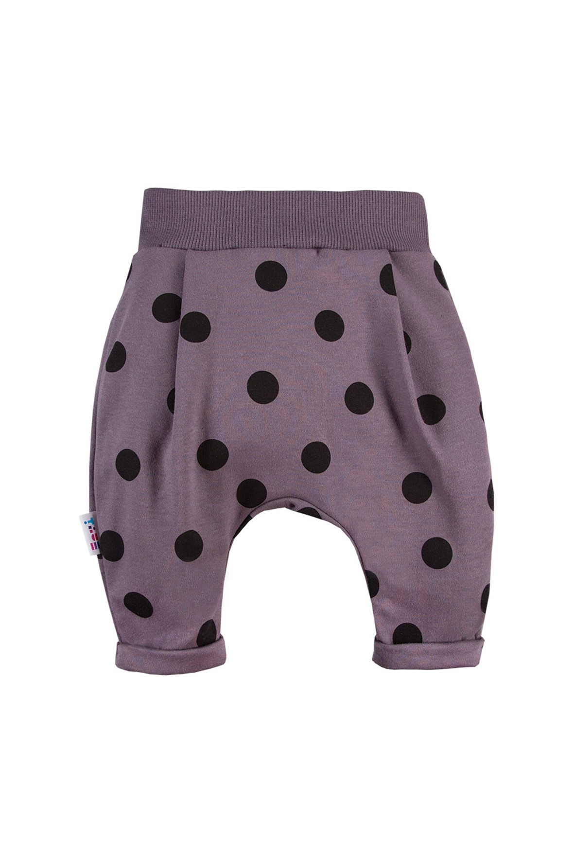 Spodnie dresowe niemowlęce grafitowe w grochy