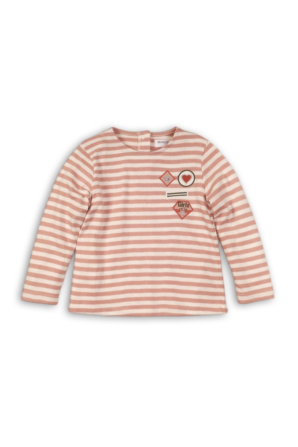 Bluzka dziewczęca w paski z kolorowymi naszywkami
