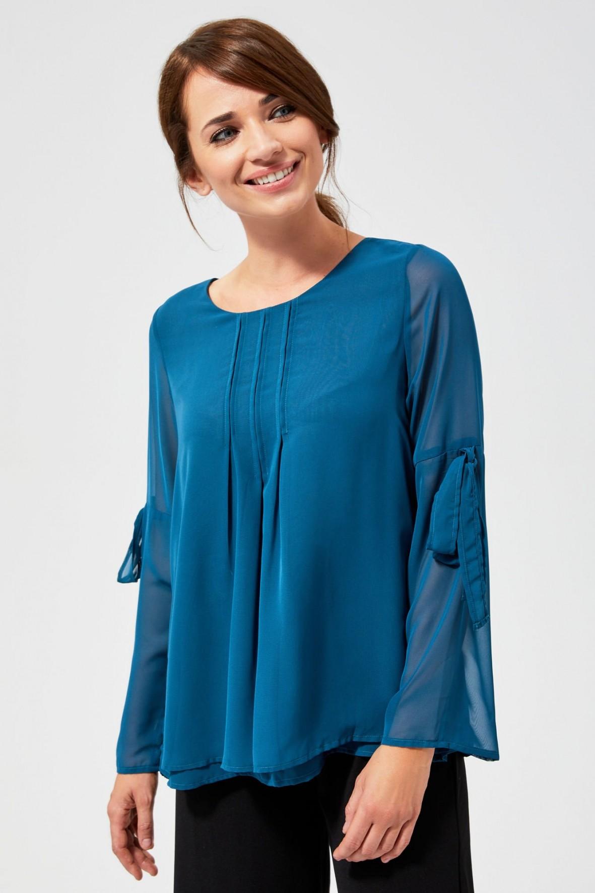 Bluzka damska z długim rękawem- turkusowa