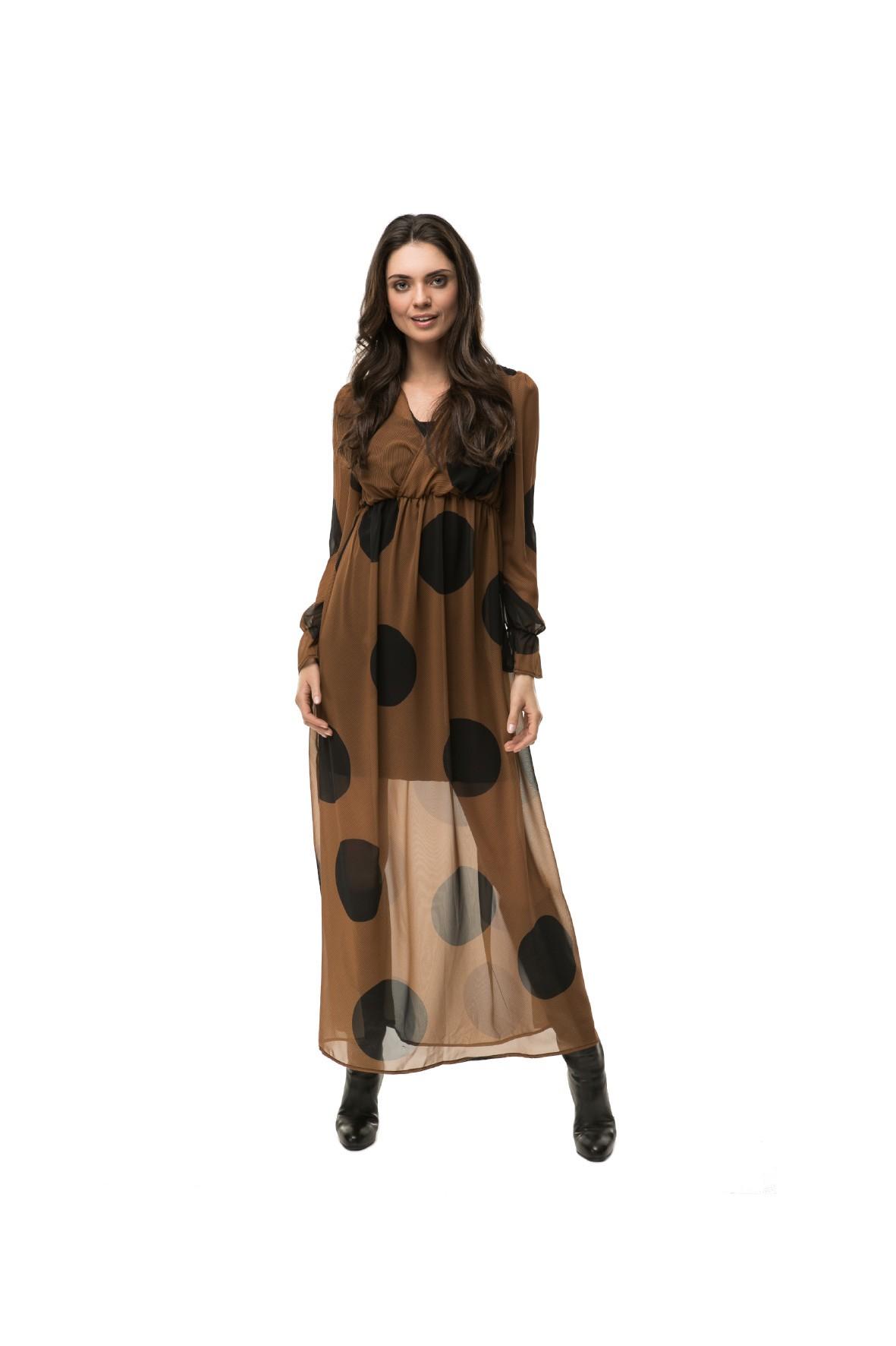 Sukienka ciążowa i do karmienia Maxi boho dots- brązowa z czarne grochy