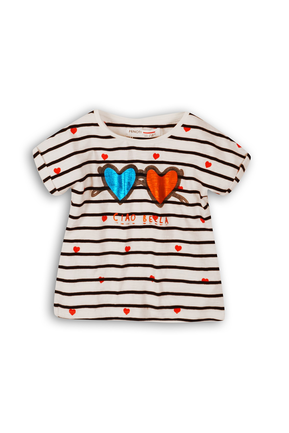 T-shirt dziewczęcy w czarno-białe paski Ciao Bella
