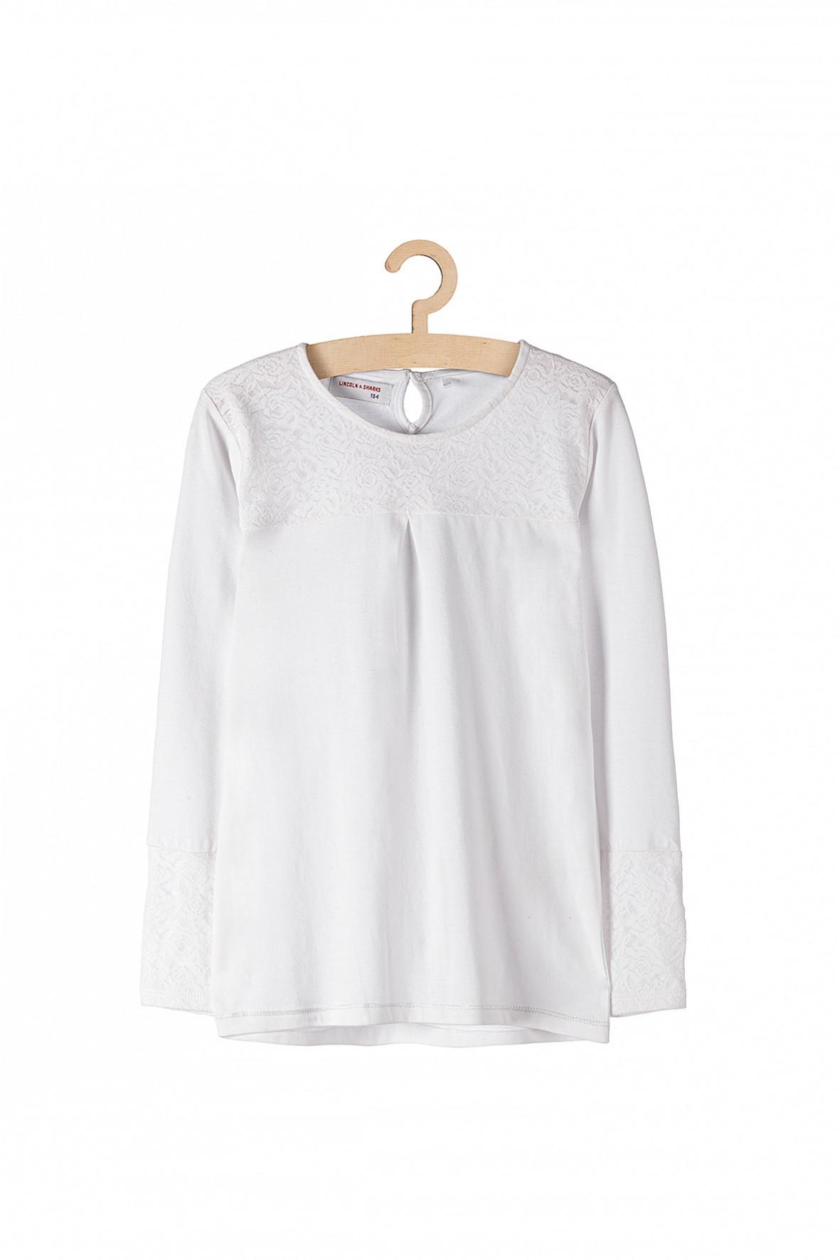 Biała bluzka dla dziewczynki- długi rękaw i koronkowa wstawka