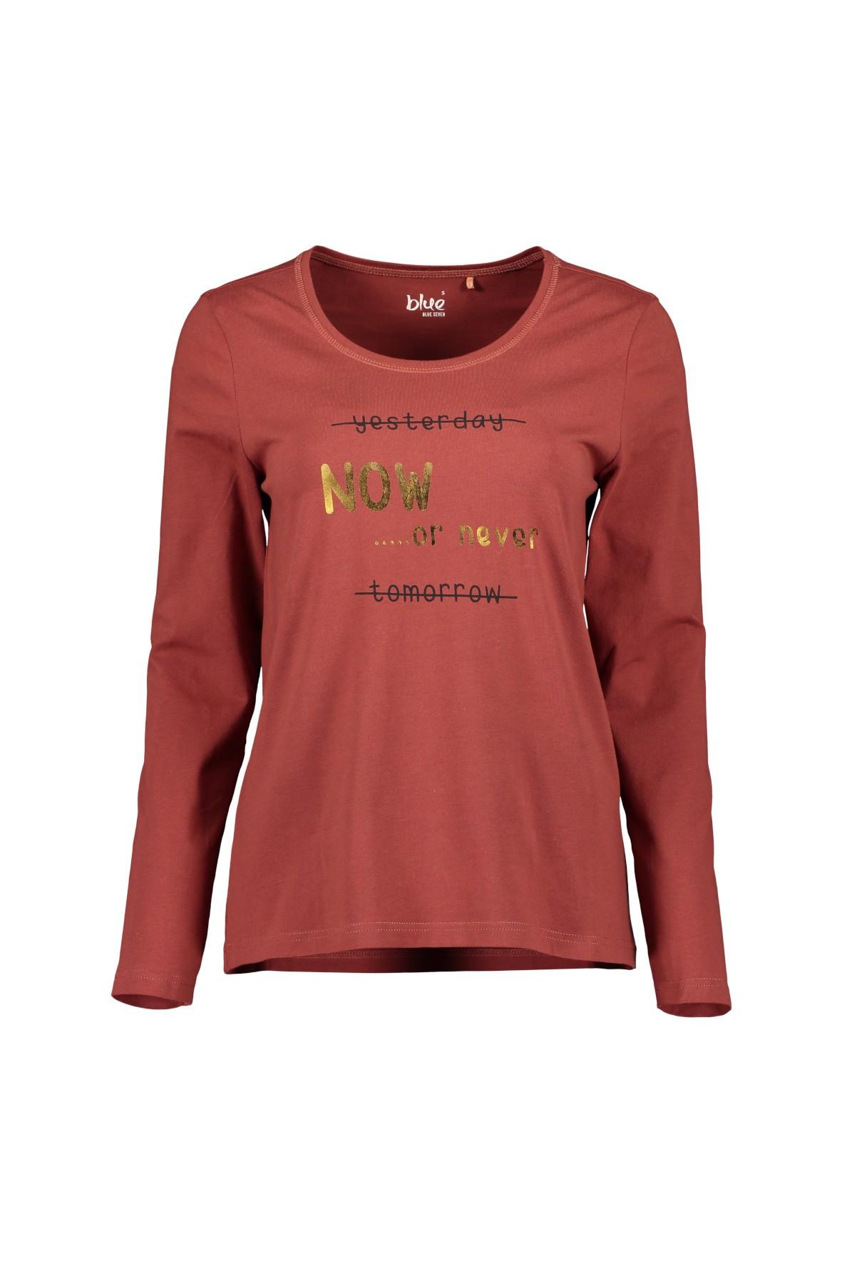 Dzianinowa koszulka damska z nadrukiem - bordowa