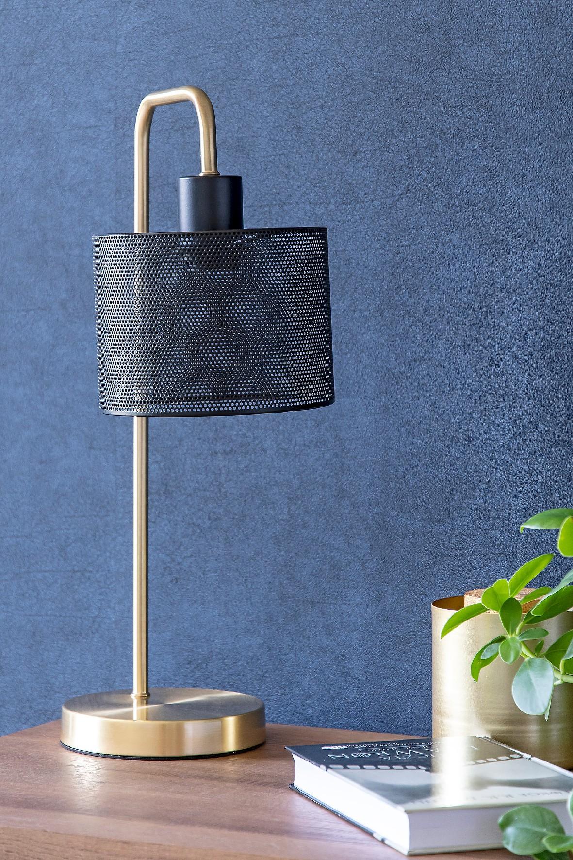 Lampa stołowa metalowa w kolorze mosiądzu, wys 48 cm