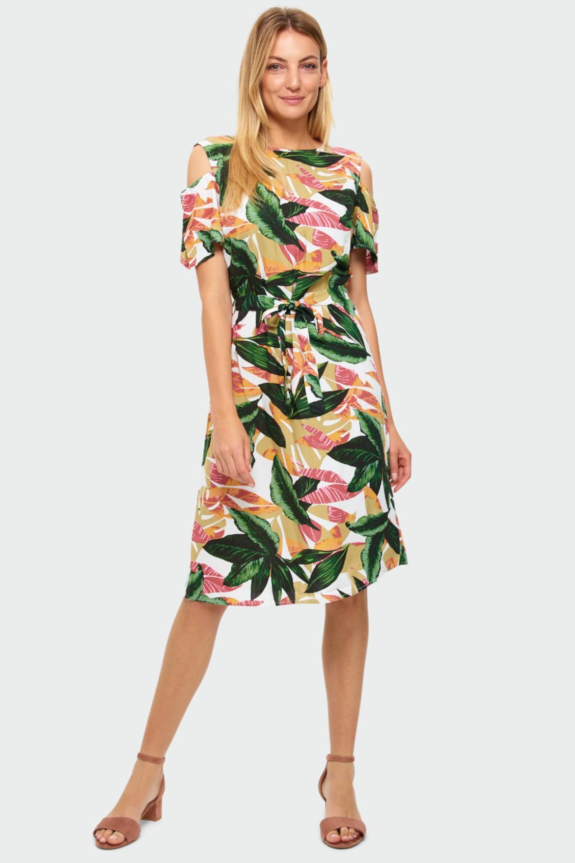 Wiskozowa sukienka z nadrukiem w liście pasek w talii odkryte ramiona