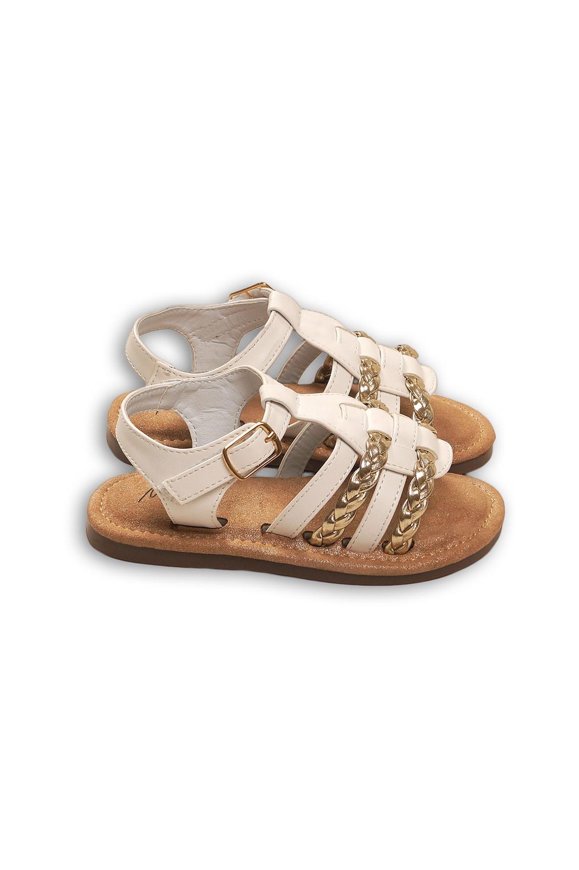 Sandałki dziewczęce ecru ze złotymi elementami