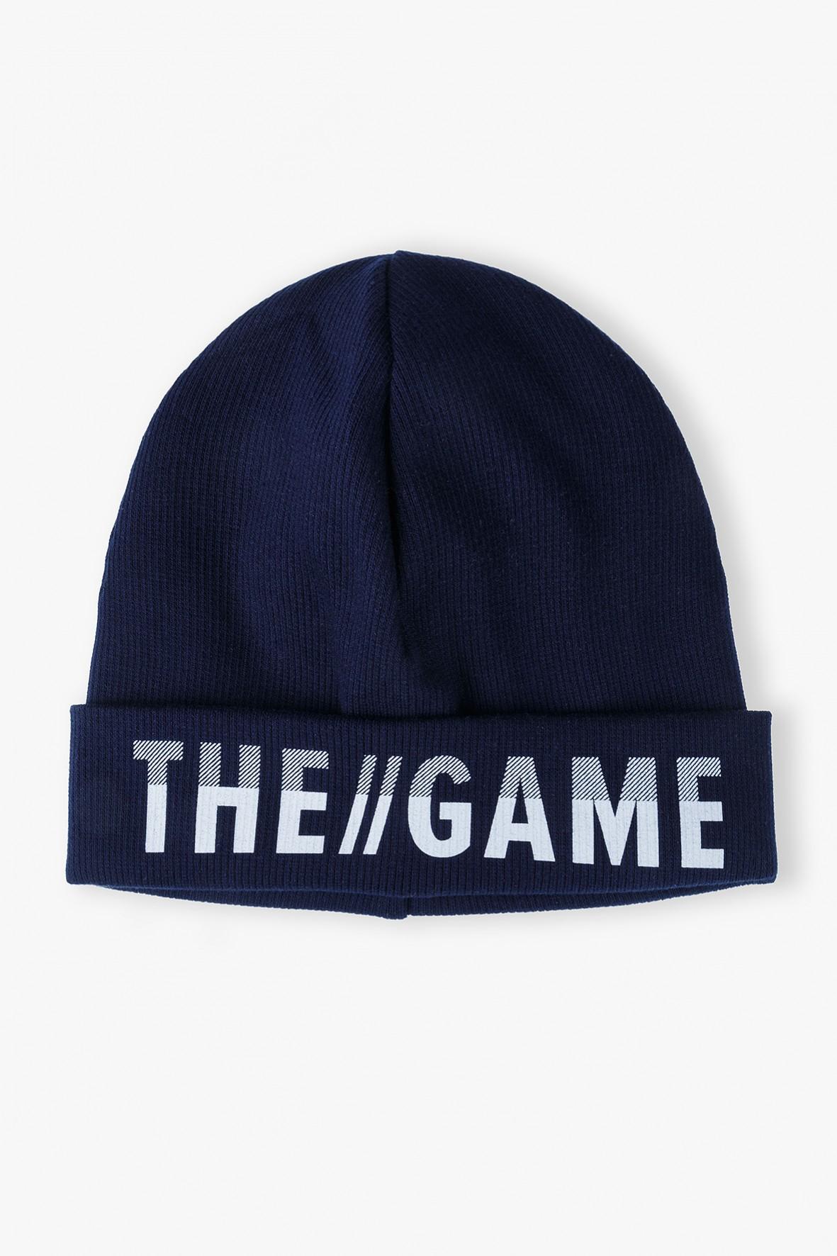 Czapka chłopięca granatowa z napisem- The game