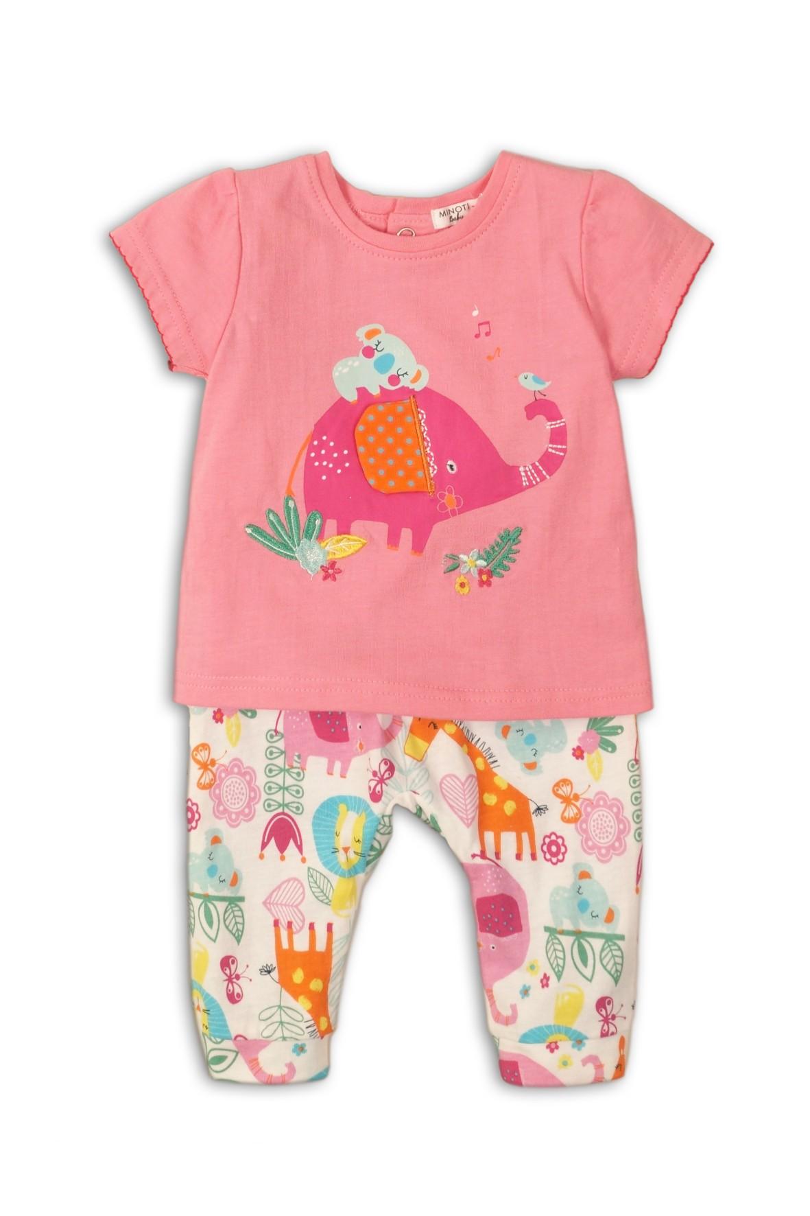Komplet niemowlęcy t-shirt ze słoniem i kolorowe spodnie