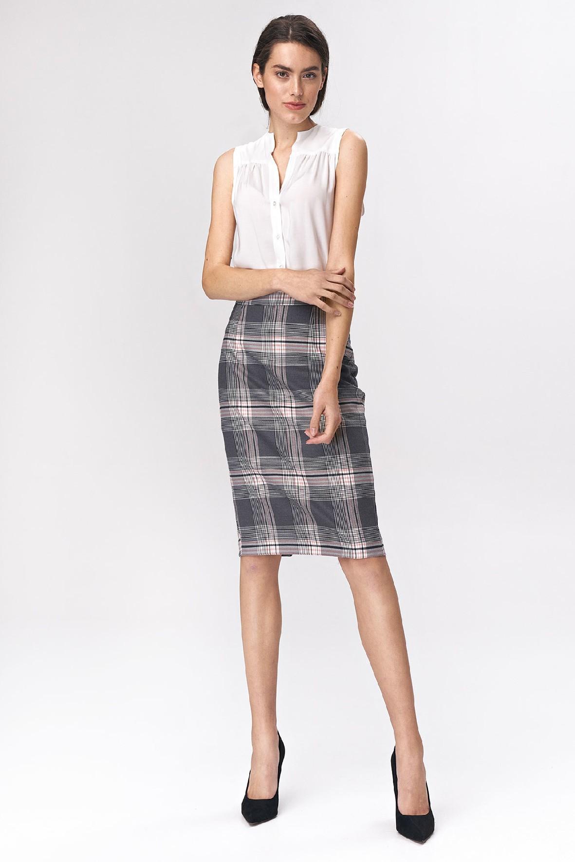 Ołówkowa szara spódnica damska w kratę