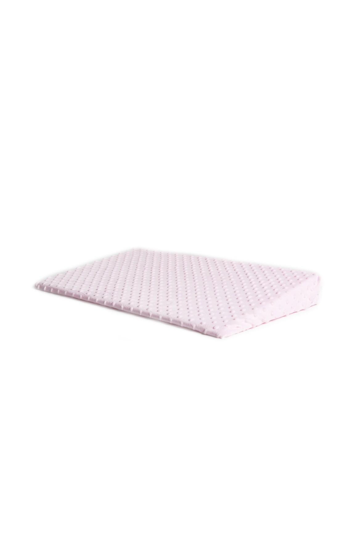 Poduszka klin minky 60 x 37 x 7 cm różowa