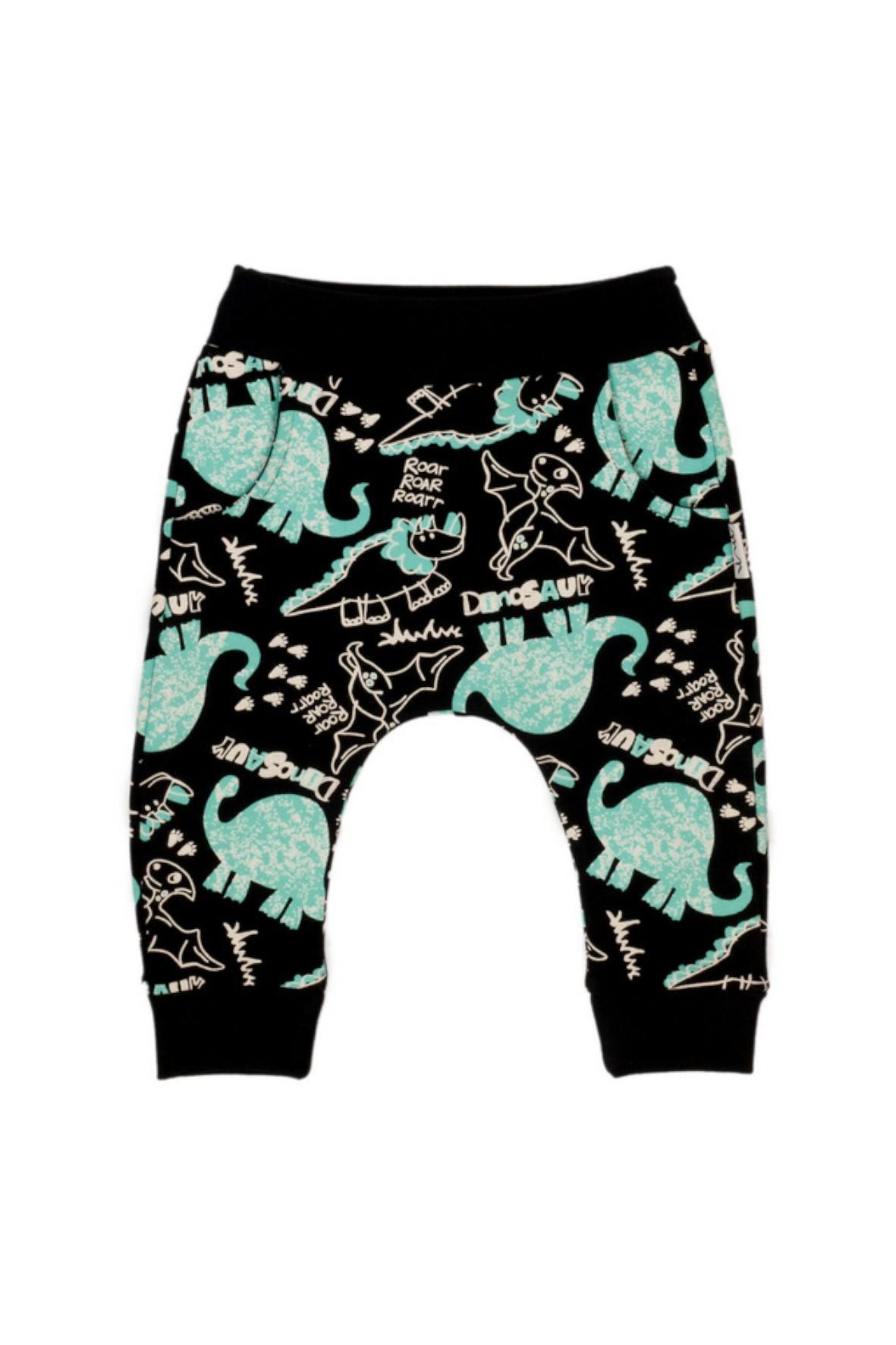 Czarne dresowe spodnie niemowlęce w dinozaury