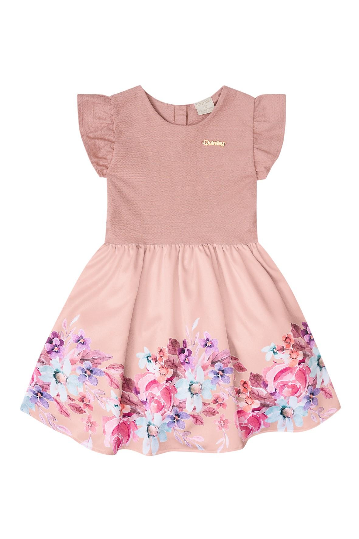 4f97869107 ... Różowa rozkloszowana sukienka w kwiaty dla dziewczynki ...