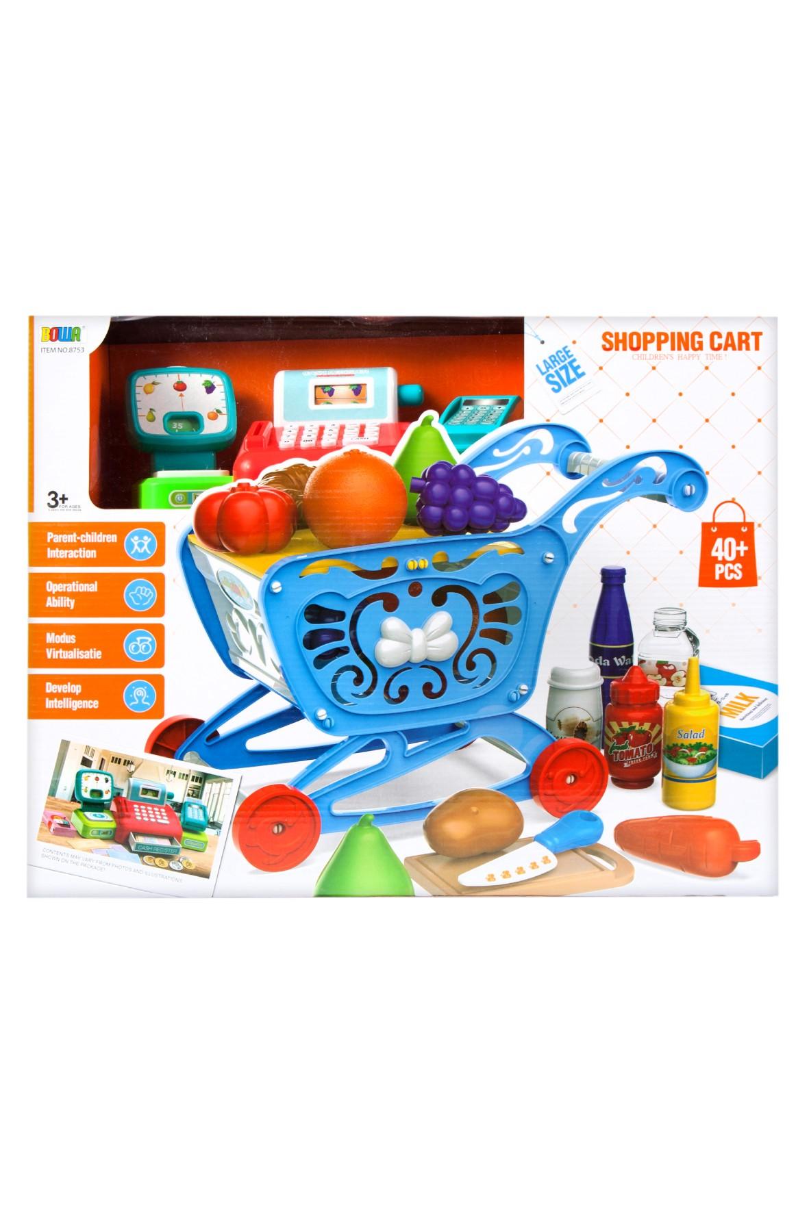 Supermarket - wózek- kasa fiskalna-akcesoria Mega Creative 3+