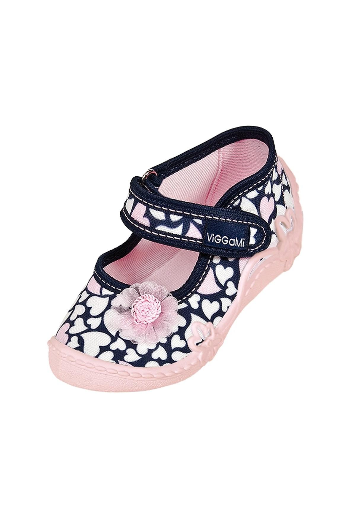 Buty dziewczęce granatowe z różowymi serduszkami