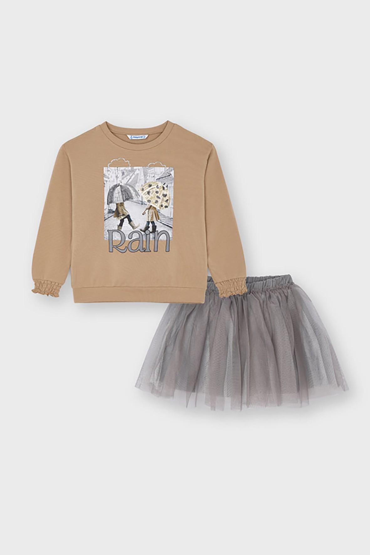 Komplet dziewczęcy -szara tiulowa spódnica  i beżowa  bluza z nadrukiem