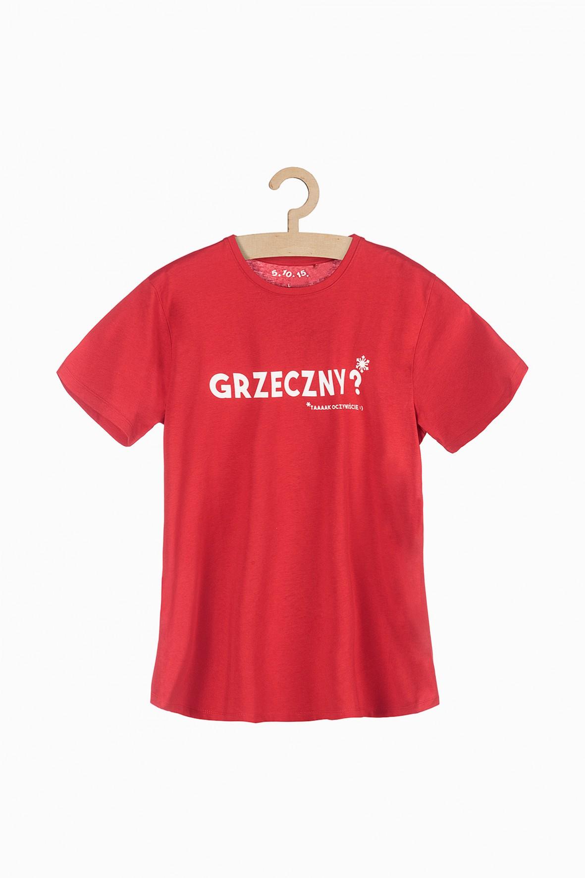 T-shirt męski z polskimi napisami-czarwony