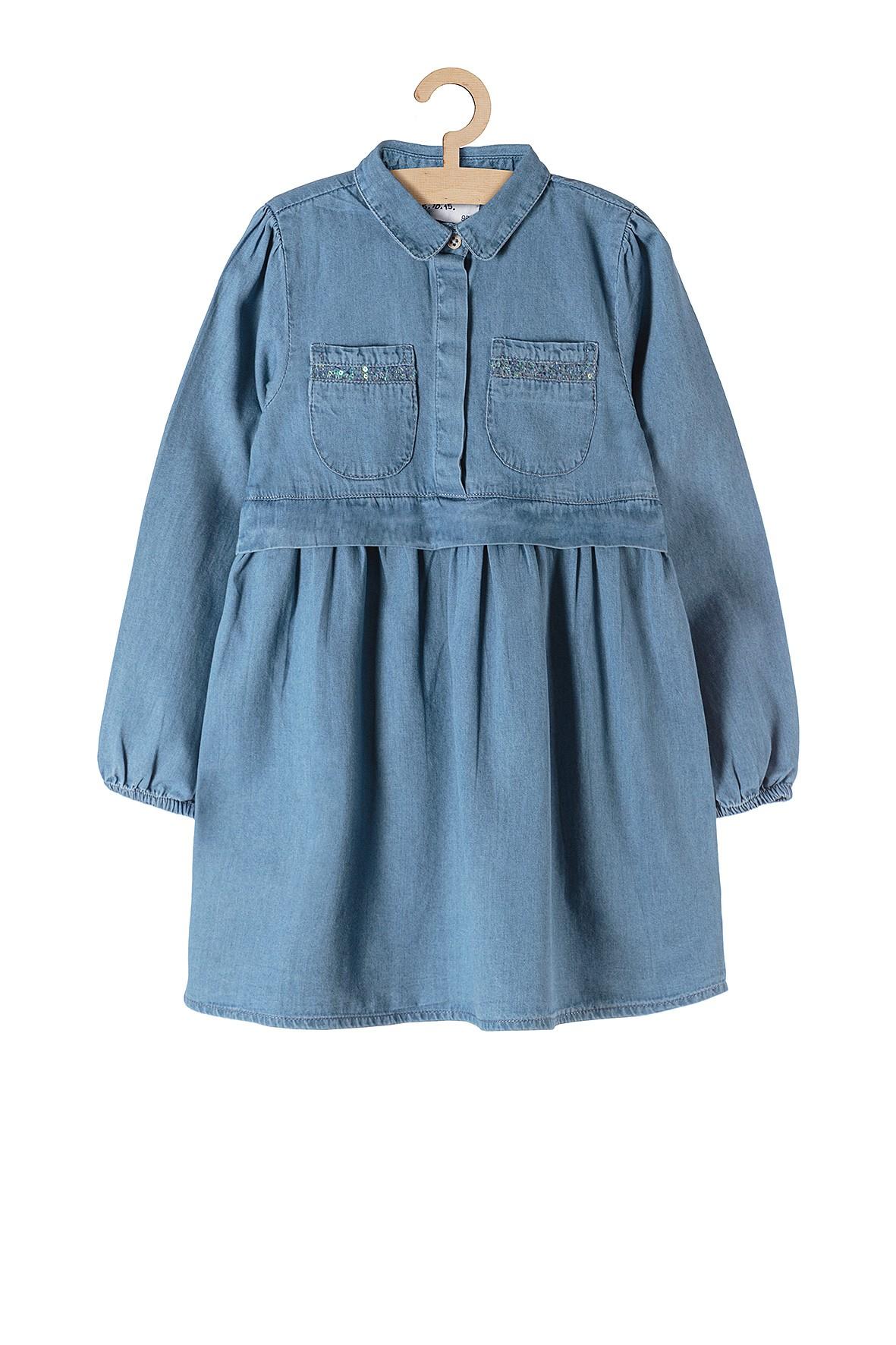 Sukienka dziewczęca z cienkiego jeansu- niebieska