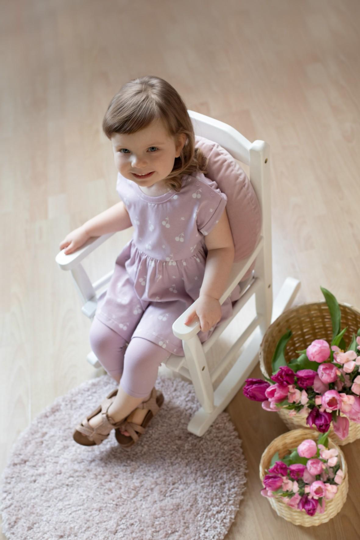 Bawełniana dziewczęca tunika  w kolorze różowym z wisienkami