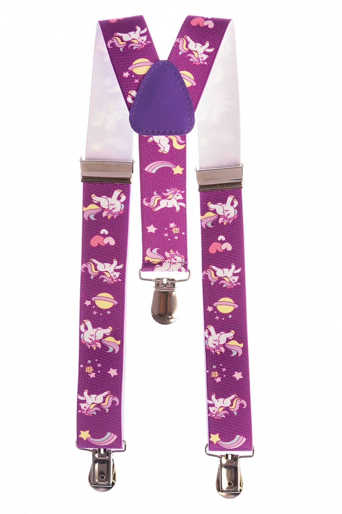Szelki do spodni dla dziewczynki fioletowe w jednorożce