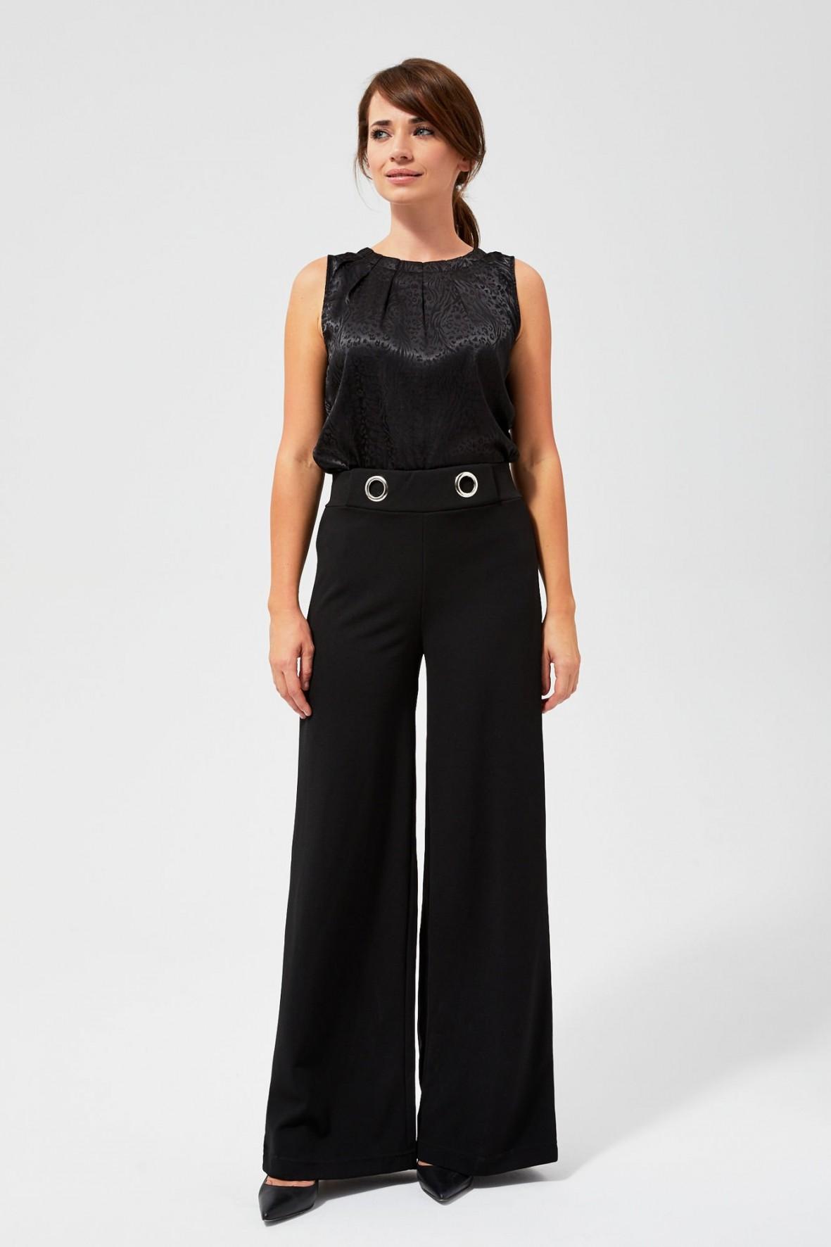 Szerokie spodnie damskie- czarne