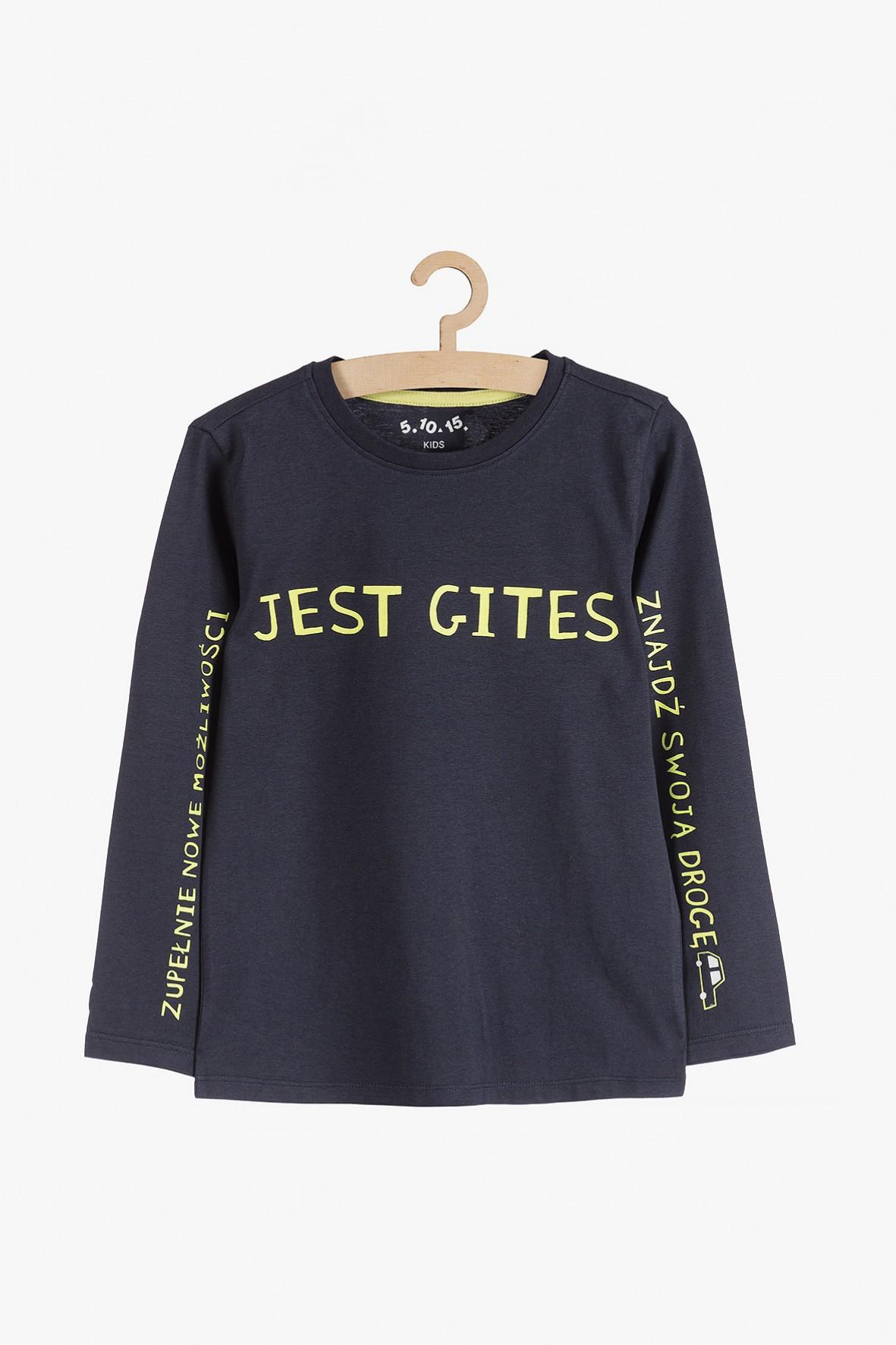 """Bluzka chłopięca czarna z napisem """"Jest Gites"""""""
