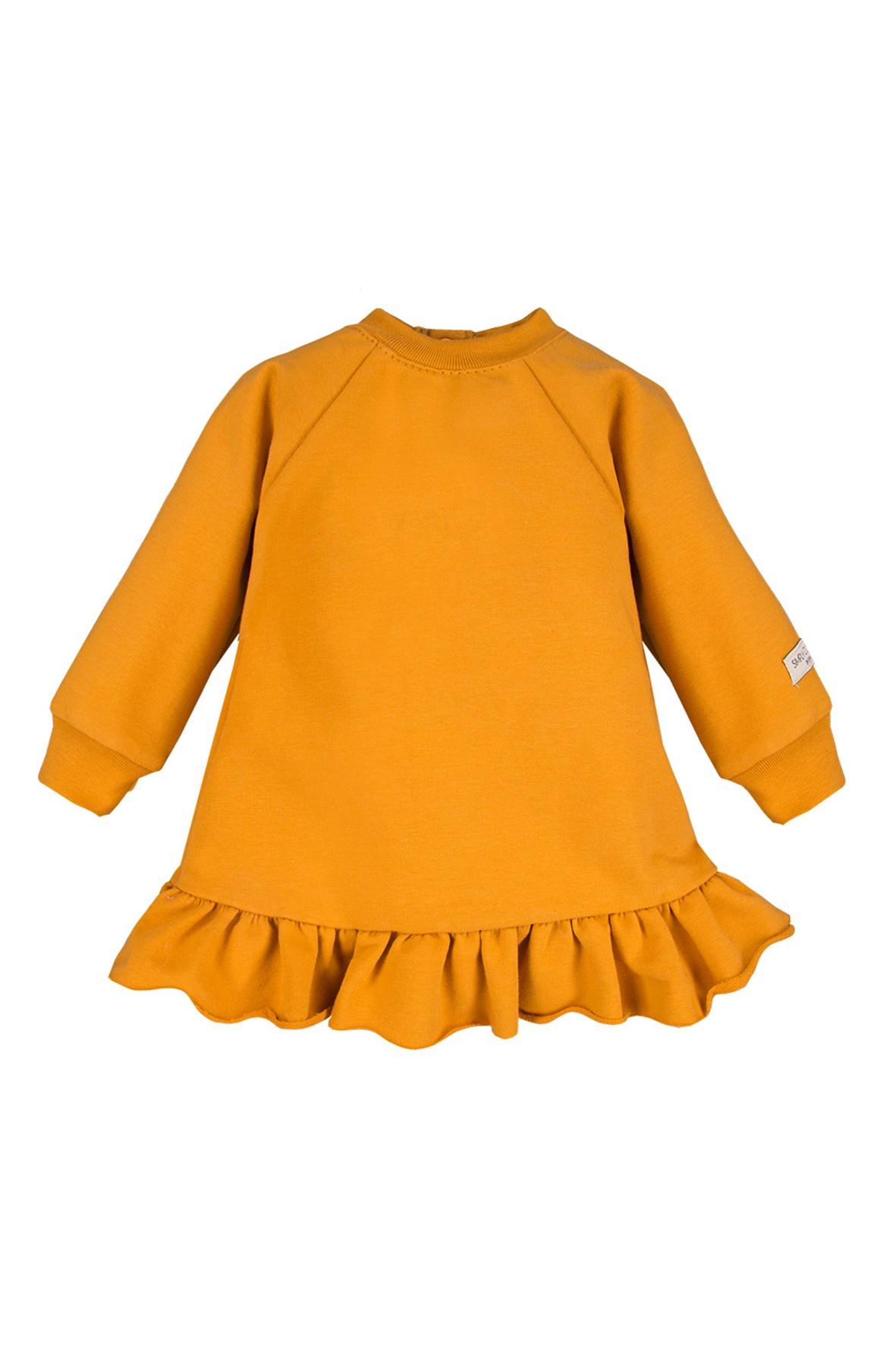 Bawełniana sukienka dresowa - miodowa