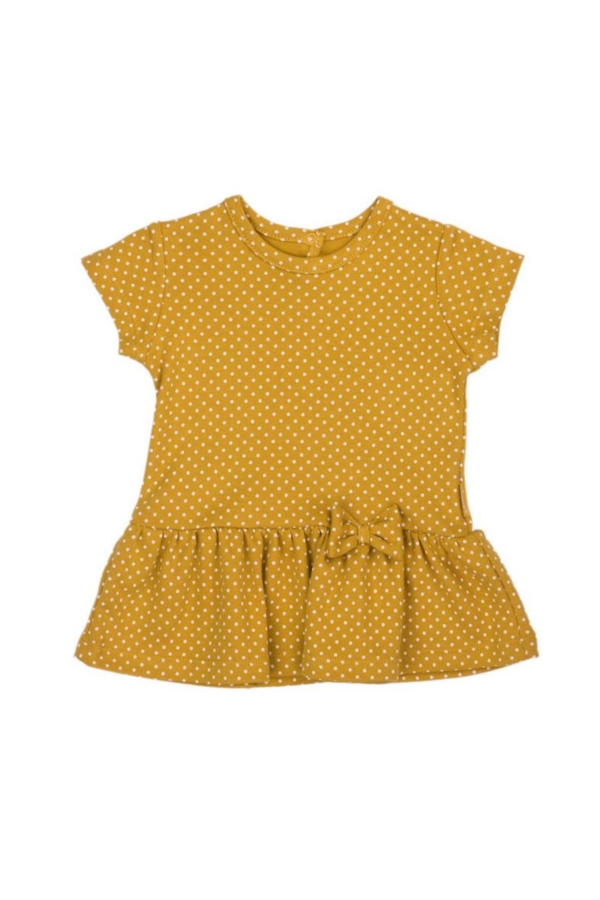 Koszulka dziewczęca z falbanką i kokardką w musztardowym kolorze