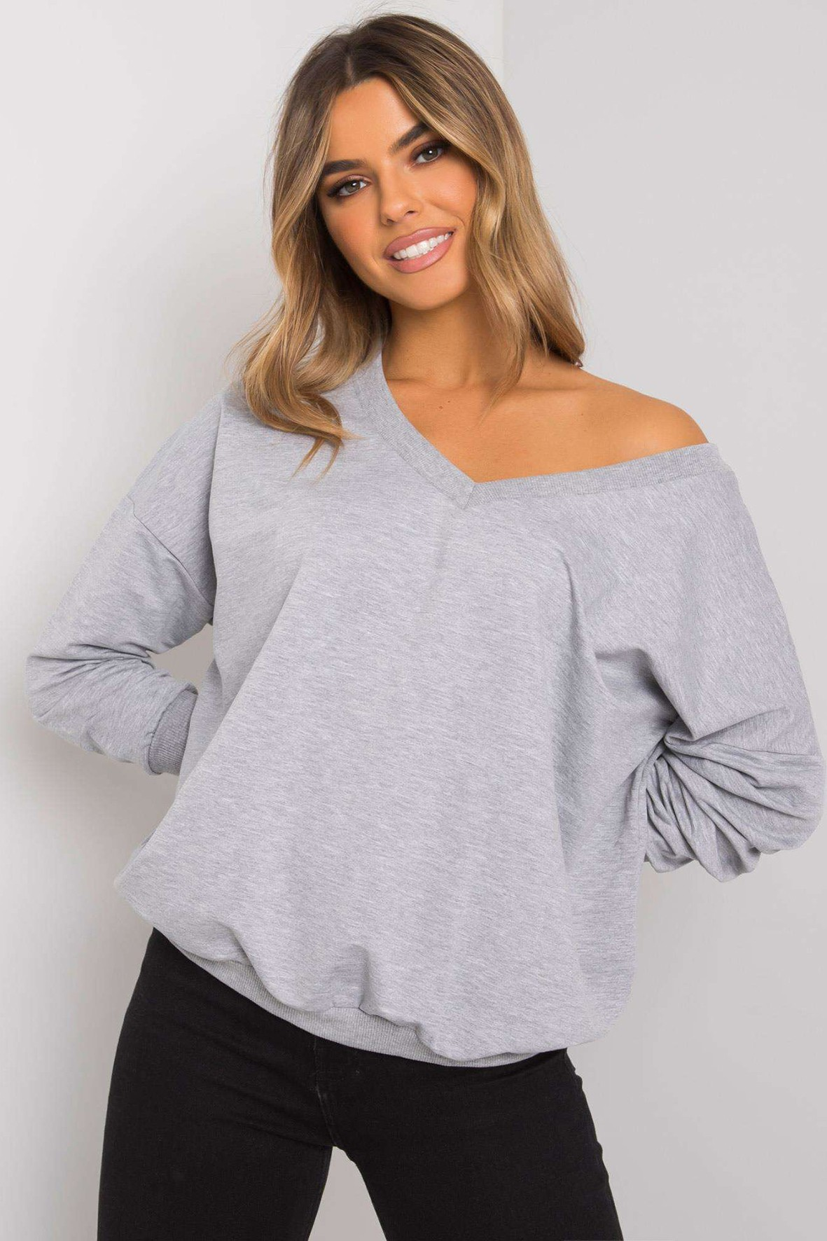 Szara melanżowa bluza bawełniana damska
