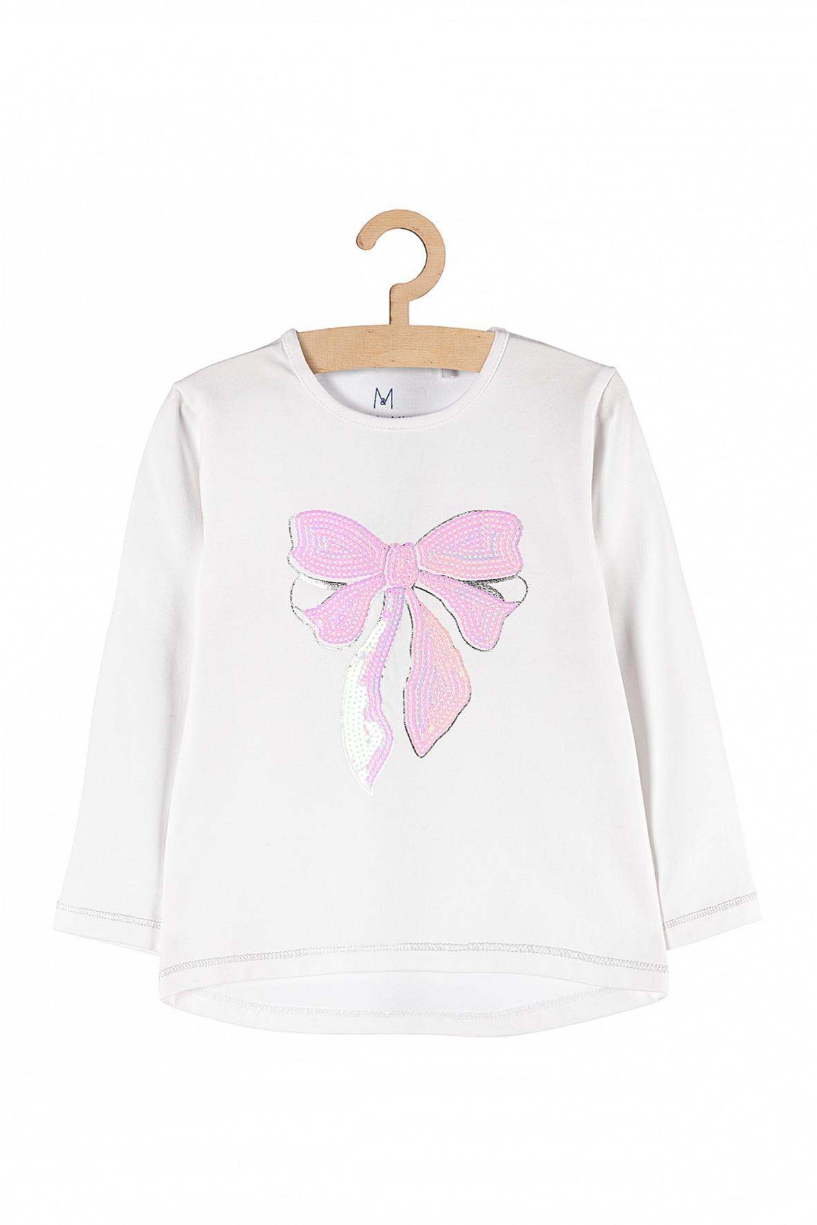 Bluzka dziewczęca z różową kokardą
