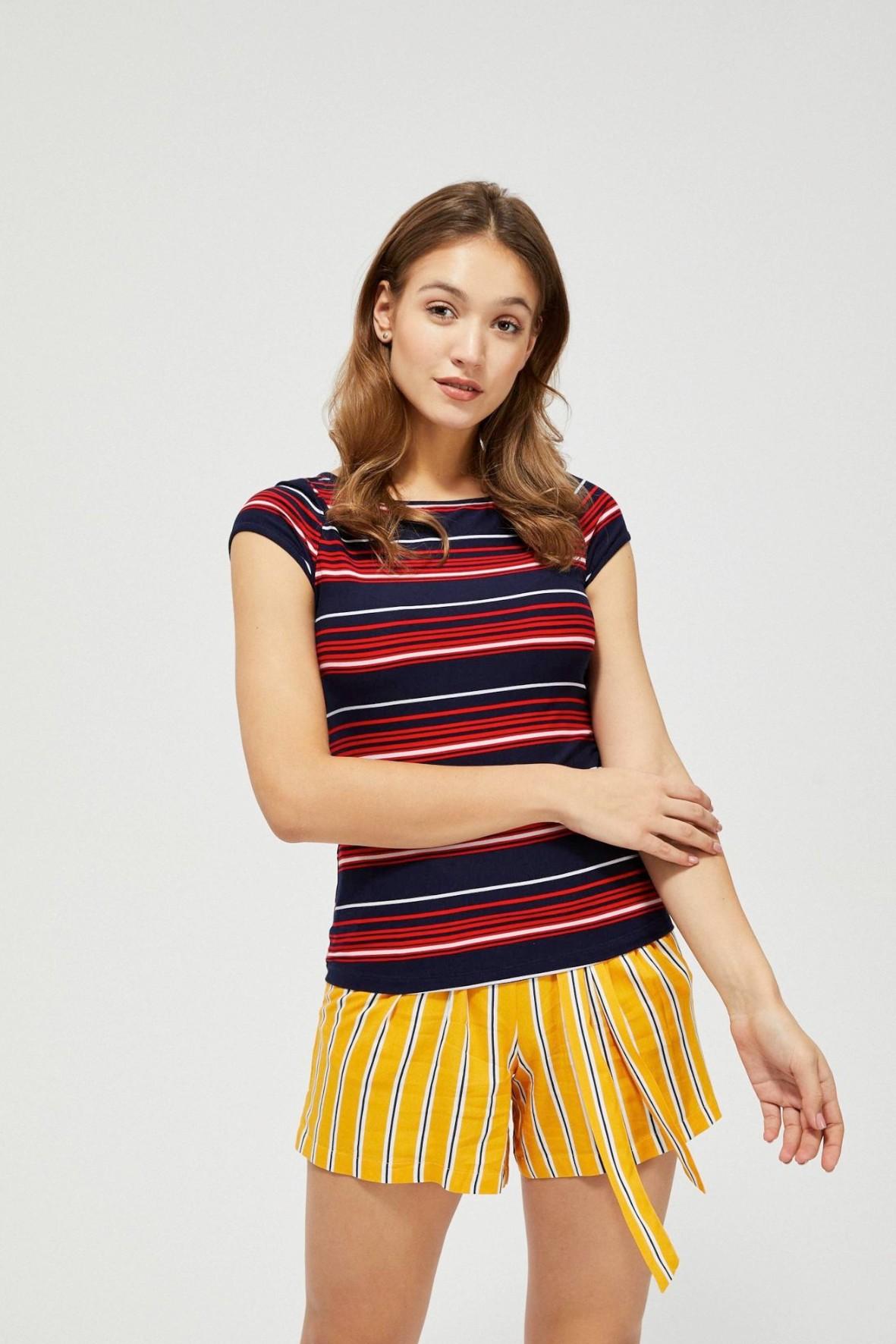 T-shirt damski na krótki rękaw w kolorowe paski