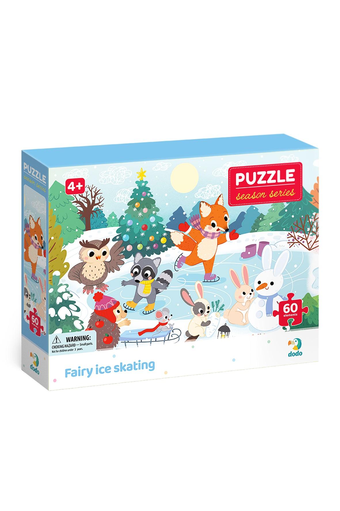 Puzzle pory roku  Zabawa na łyżwach - 60 elementów wiek 4+
