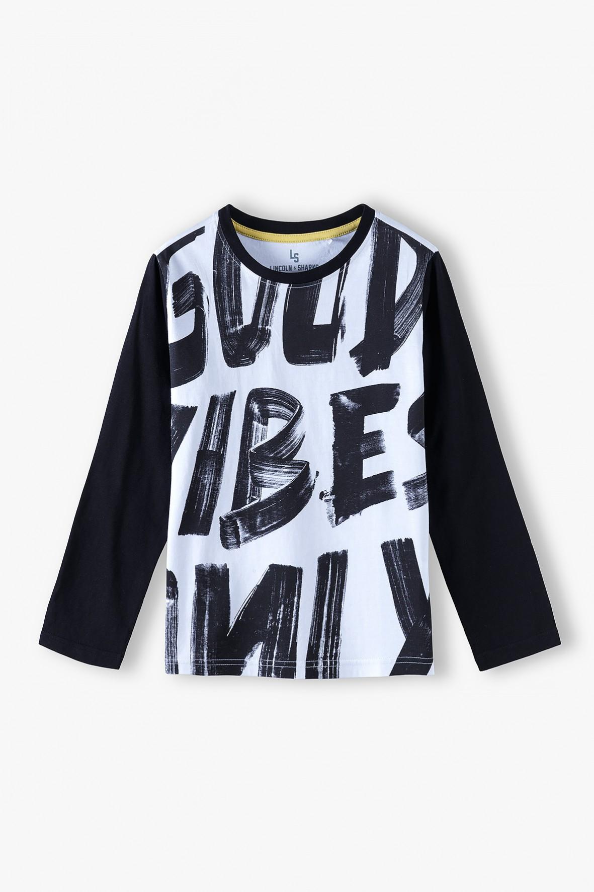 Bawełniana bluzka chłopięca z długim rękawem- Good Vibes Only
