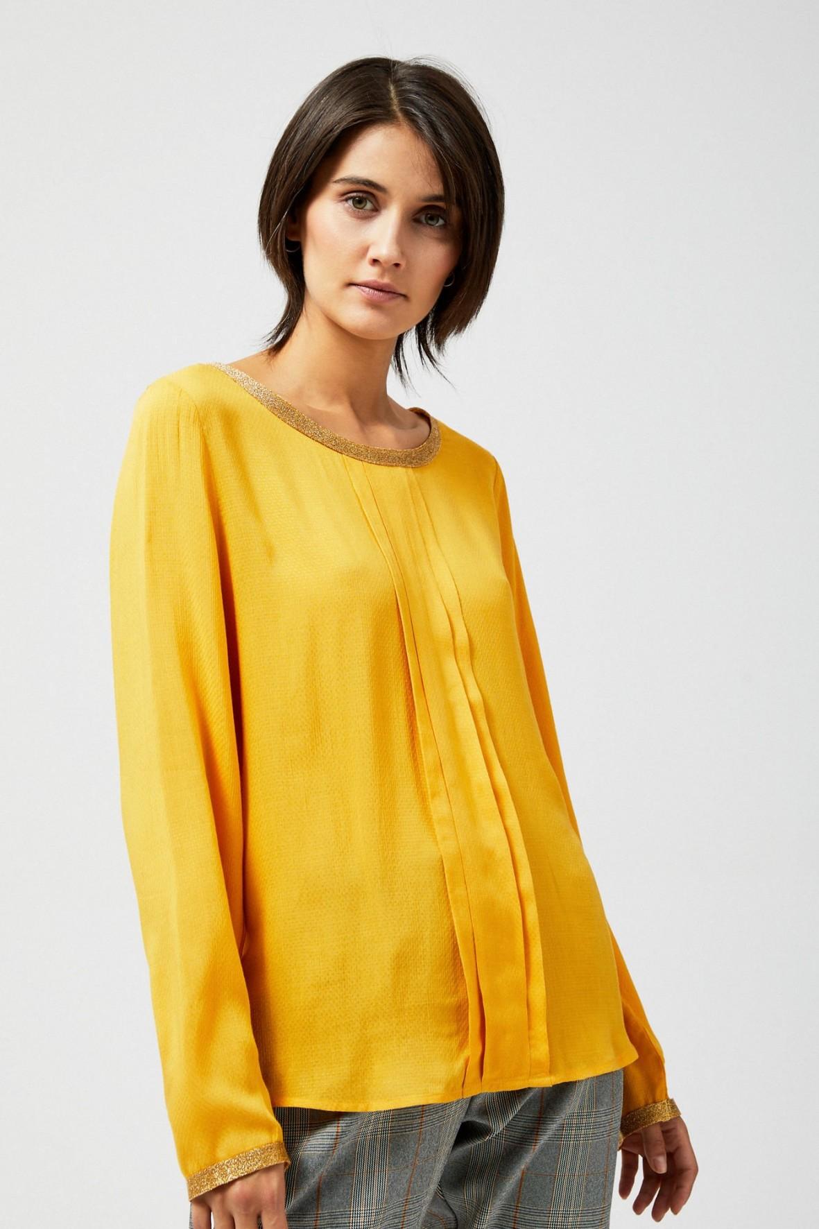 Bluzka koszulowa z metaliczną lamówką
