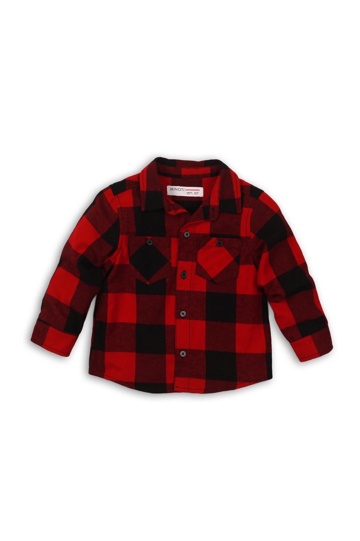 Koszula chłopięca flanelowa w czerwono-czarną kratę