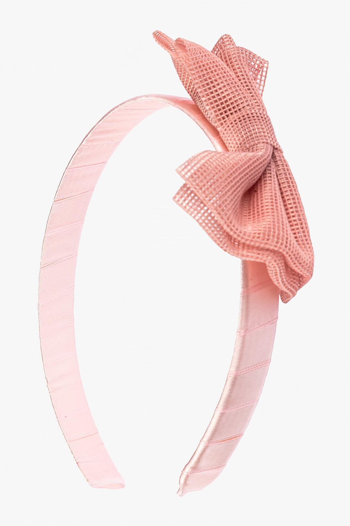 Opaska na włosy z różową kokardą