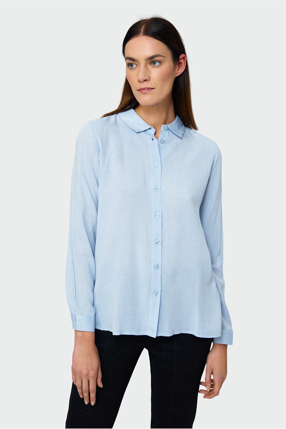 Gładka koszula z długim rękawem- niebieska