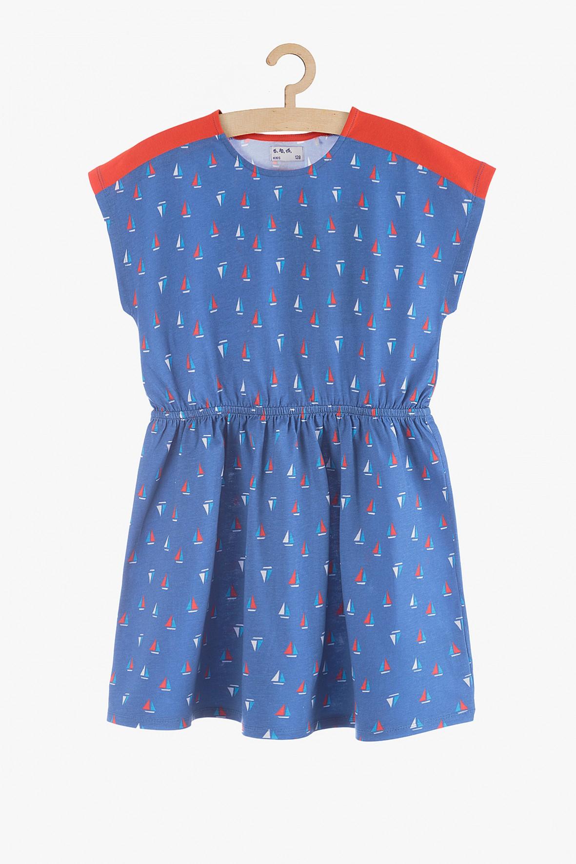 Sukienka dziewczęca niebieska w żaglówki-100% bawełna