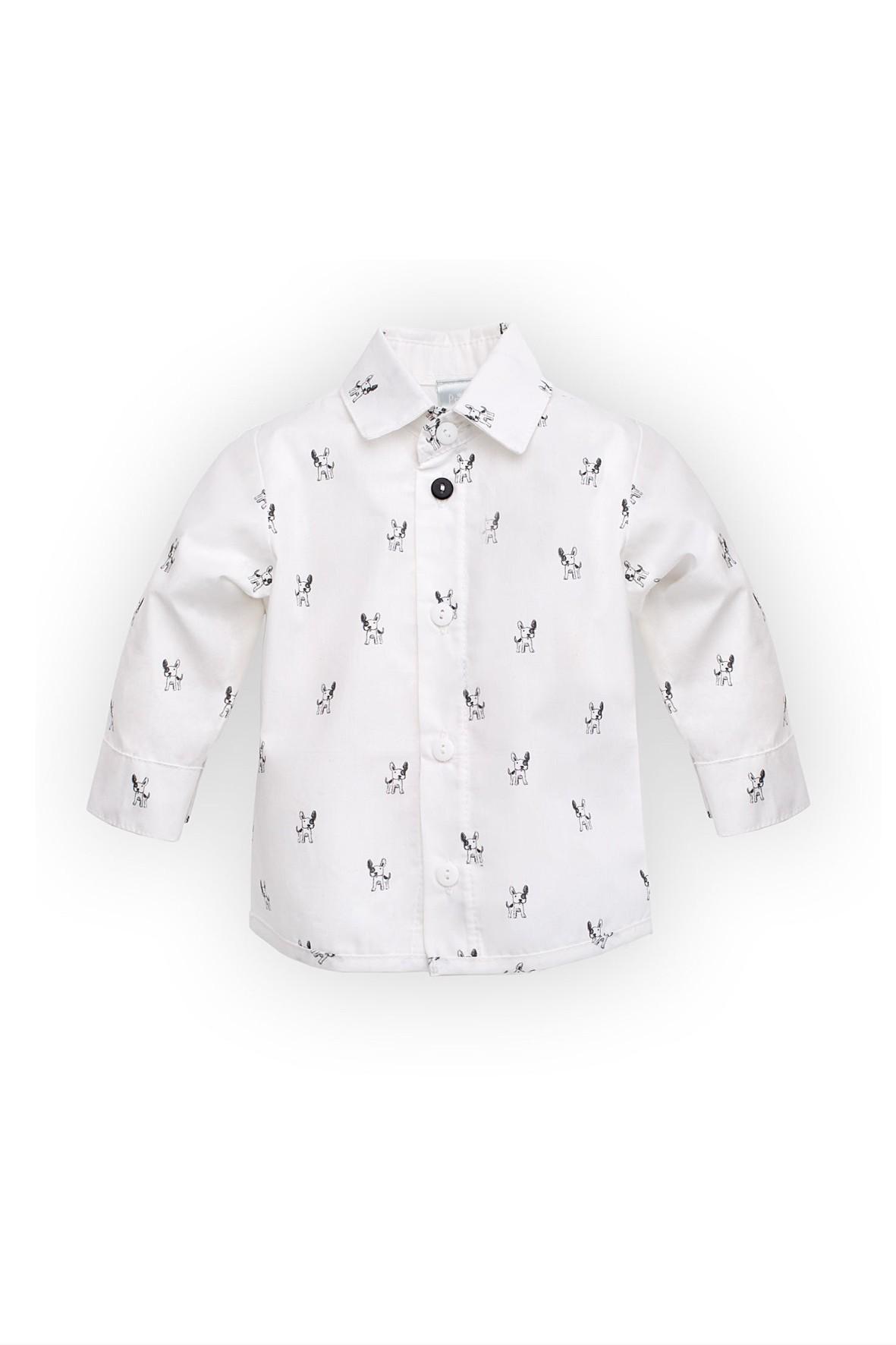 Koszula chłopięca biała w pieski