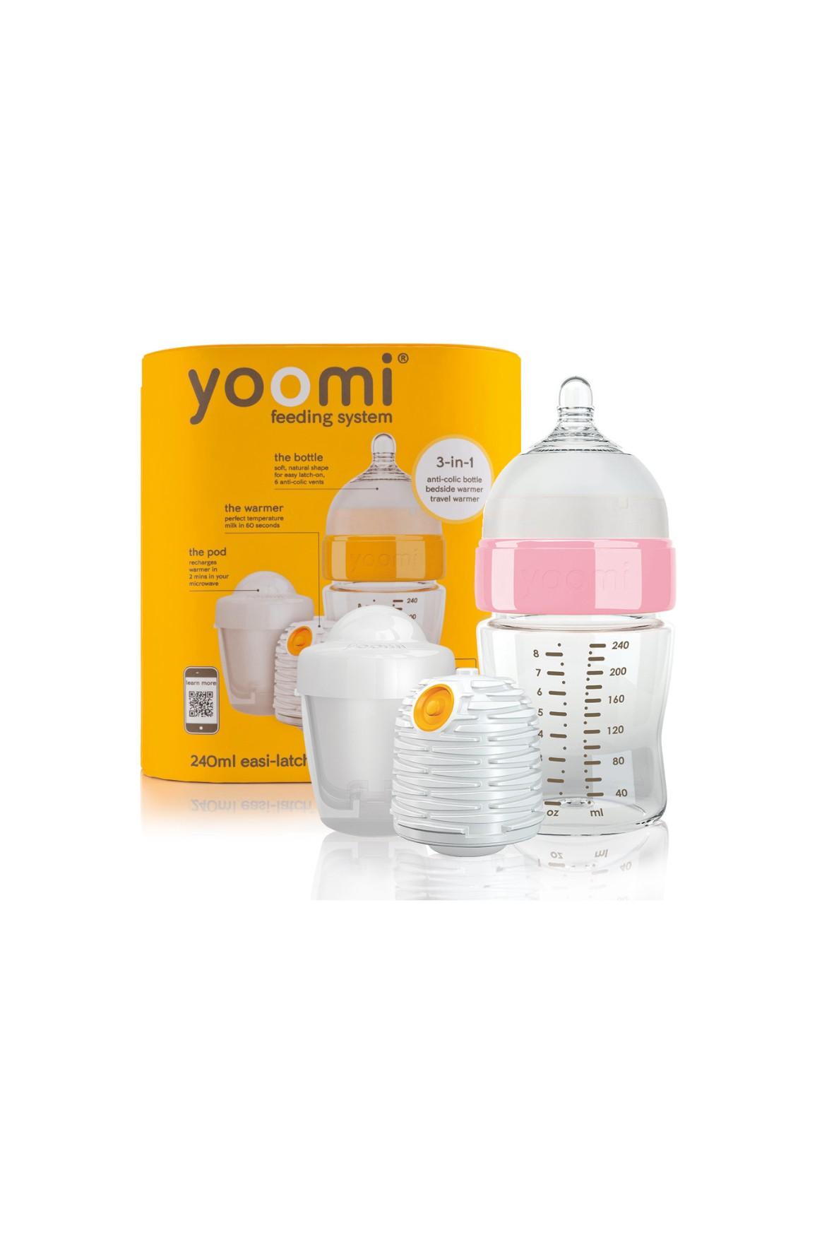 Butelka 240ml różowy kołnierz- podgrzewacz i kapsuła- Yoomi