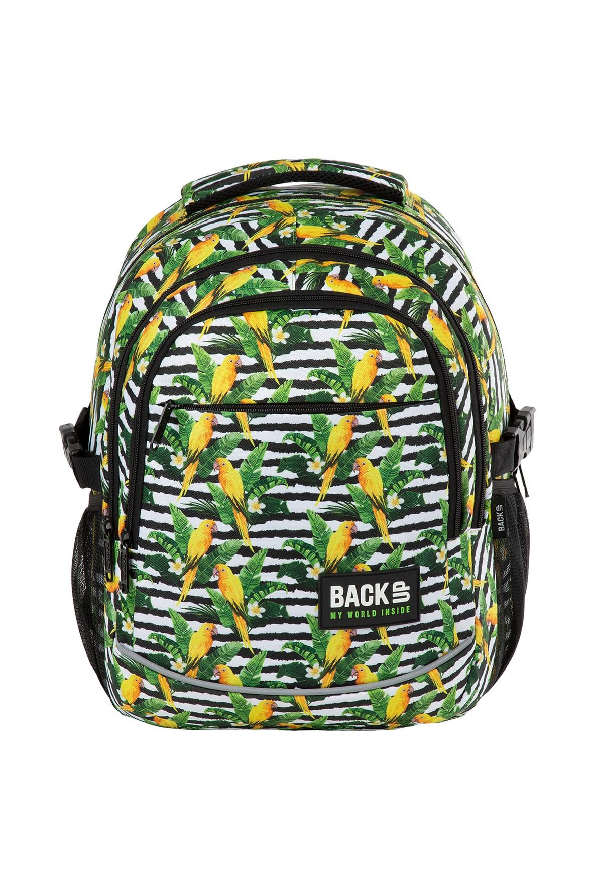 Plecak szkolny BackUp  w papugi- 3komorowy