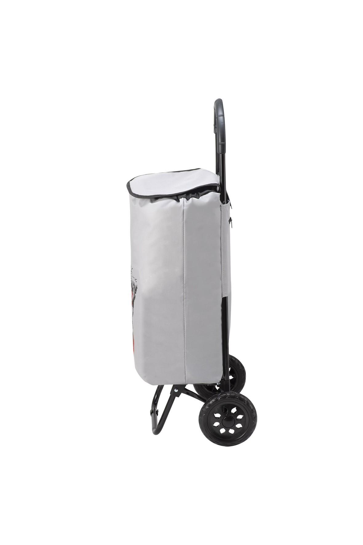 Wózek - torba na kółkach na zakupy z pieskiem- szara