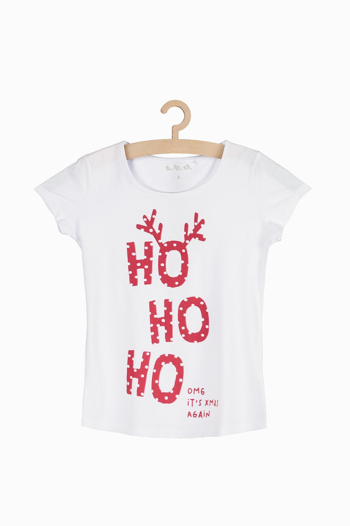 Świąteczny t-shirt damski Ho ho ho