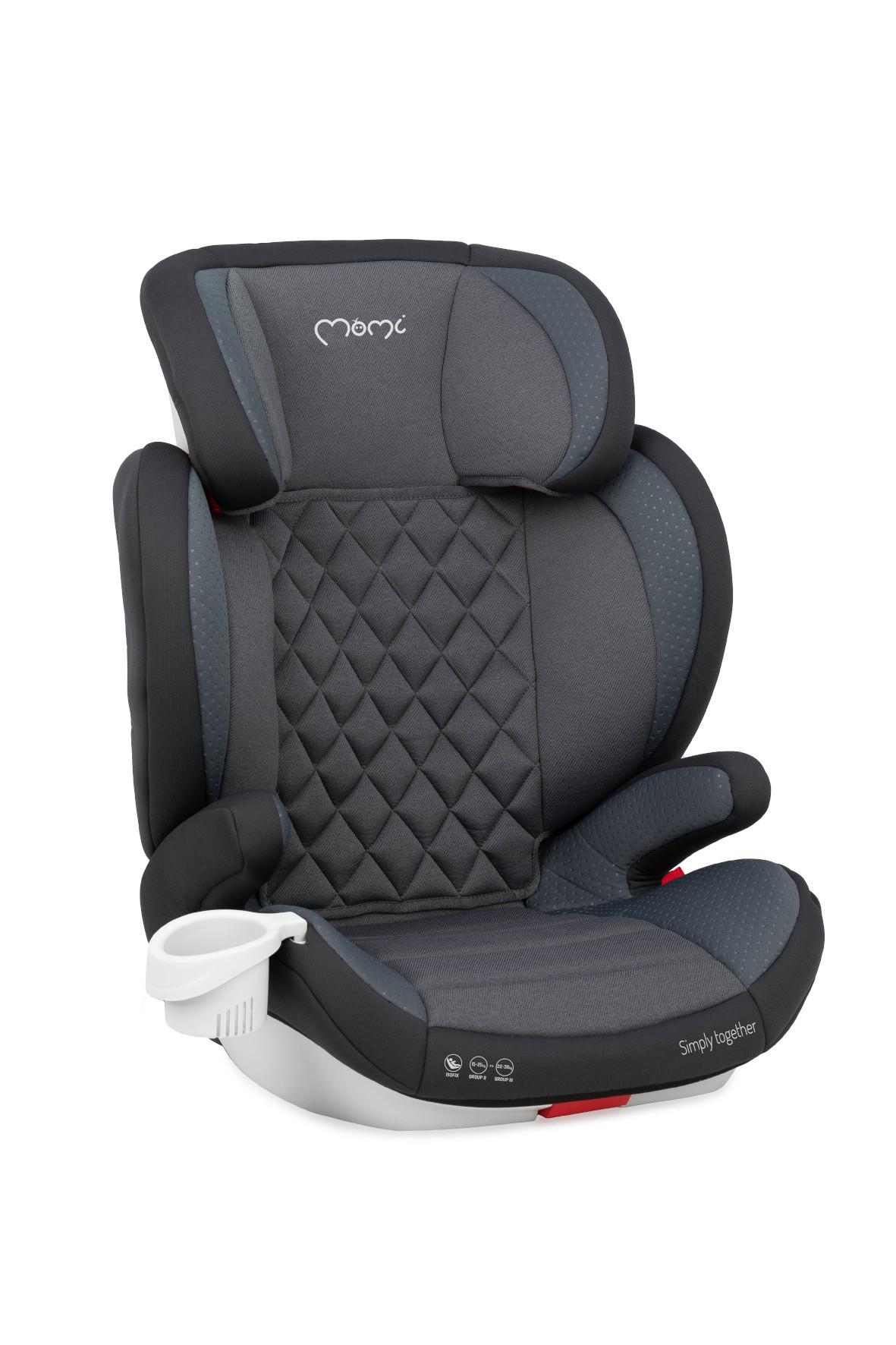 MoMi QUICK FIX fotelik samochodowy dla dzieci z II i III grupy wiekowej grafit 15-36kg