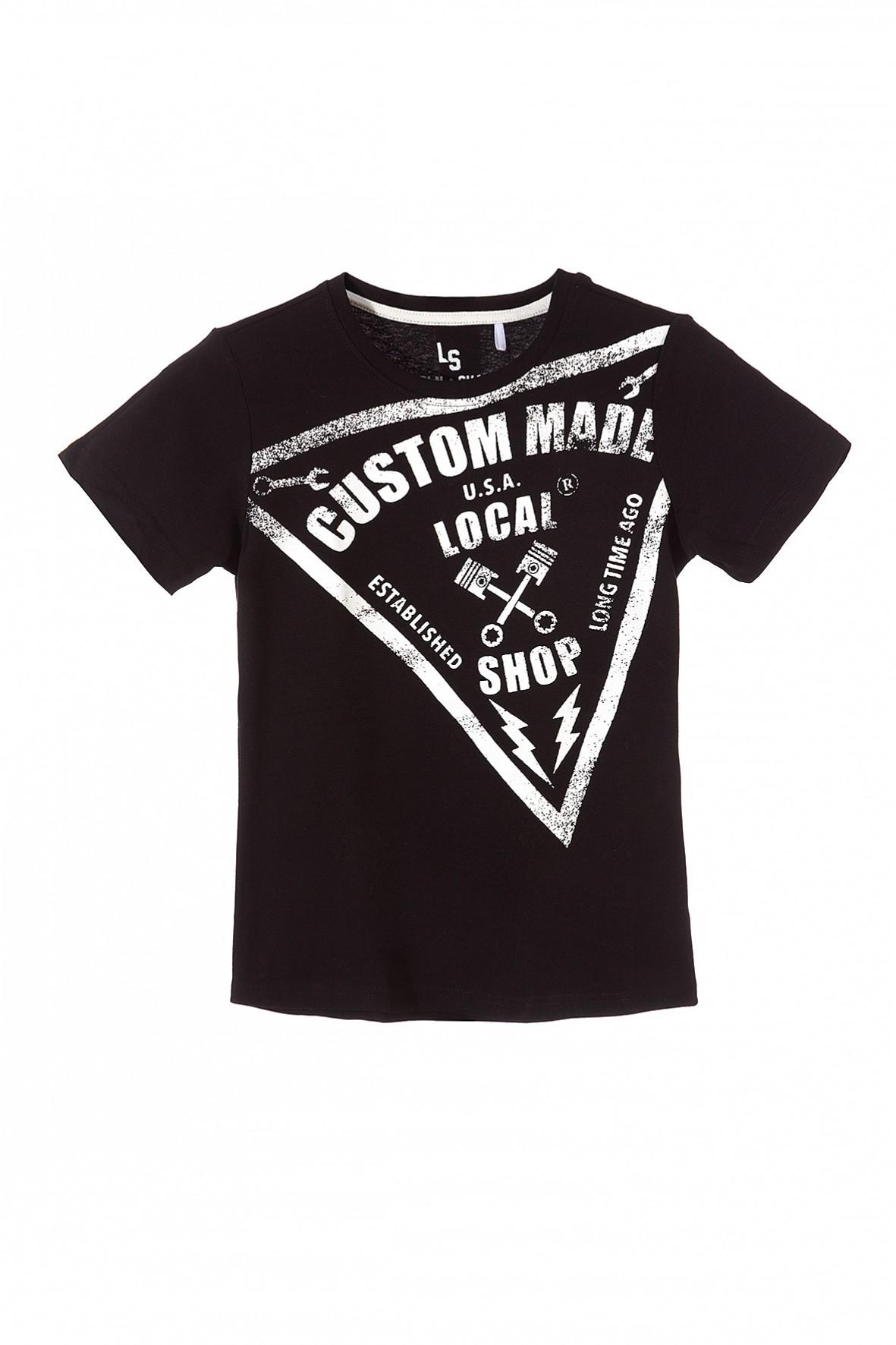 Koszulka chłopięca czarna z białymi nadrukami