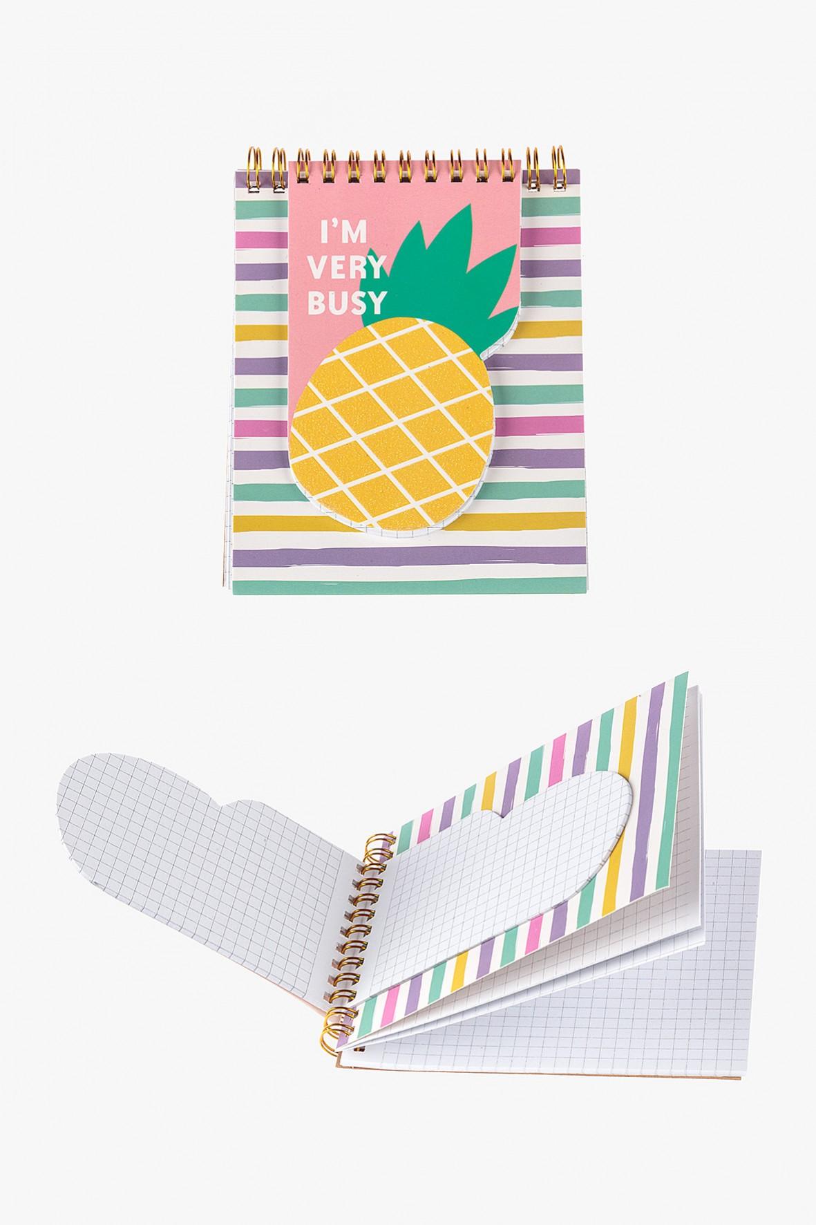 Notatnik w kratkę z ananasem