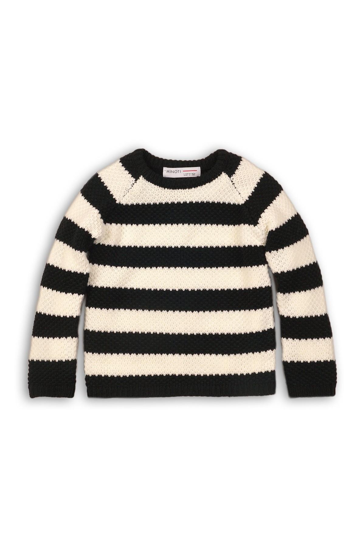 Sweter niemowlęcy w biało granatowe paski